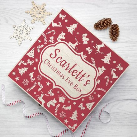 Large Personalised Festive Pattern Wooden Christmas Eve Box - 2 Colours